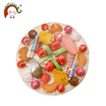 wood cake kit toy with candle and fruits fittings for children