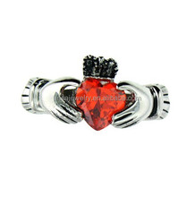 Wholesale Fashion Stainless Steel Heart CZ Red Diamond Rings, women men Big Zircon Rings ZZR047