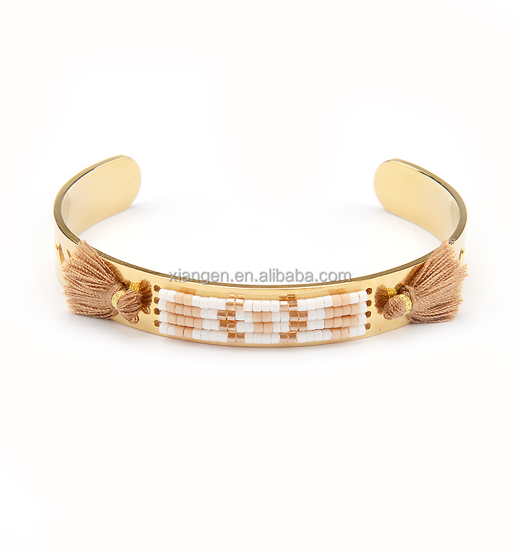 Handmade Arrow Image Yellow Gold Cuff Bracelet