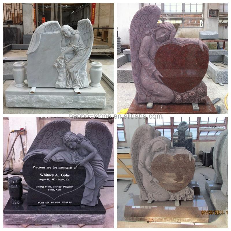 Granite Angel Heart : Red granite angel heart headstone monument tombstone buy