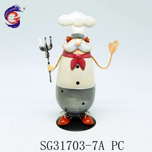 Most popular nice handmade decorative iron metal chef figurines statues craft