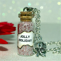 Mary Poppins, Magical Jolly Holiday glass Bottle Necklace with a Hat Charm Inspired necklace