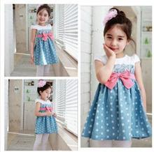 Latest design fancy sleeveless kids clothes splicing printed dot beautiful teenage girl jeans dress