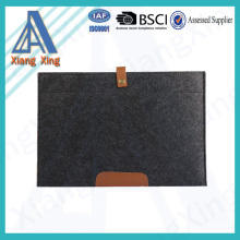 Custom wool felt bag string button scratch resistant felt laptop sleeve for ipad
