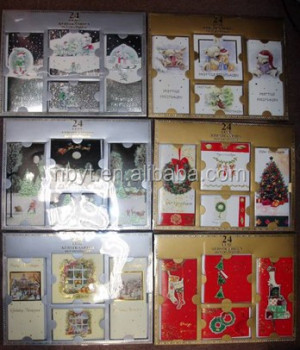 24 cards in paper box + acetate lid (total 4 cards designs & 3 sizes)