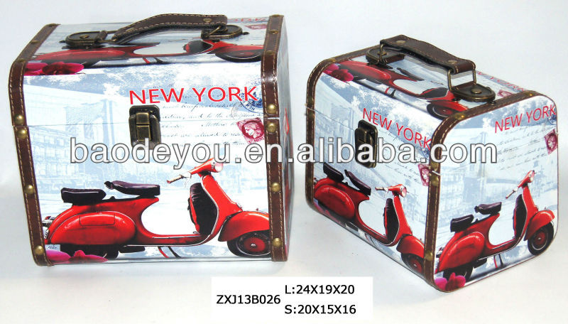 2014 New Arrival New York Motorcycle Suitcase Parts with Antique Reproduction