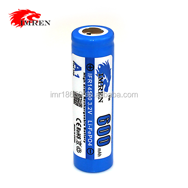 3.2V 600mAh IFR 14500 LiFePO4 Battery IFR 14500 Rechargeable Lithium battery 3.2V 600mAh