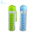 Plastic Water Bottle With Daily Pill Box Organizer Drinking Bottles