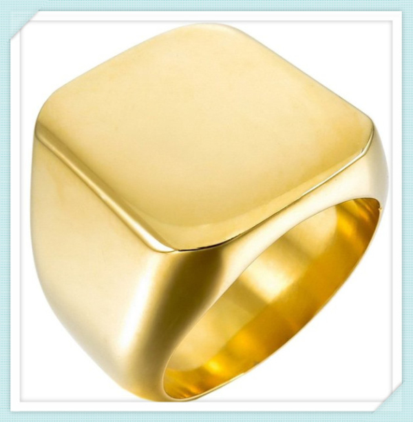 Classic design customized free engraved stainless steel gold plated signet ring