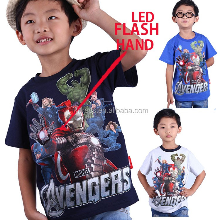 sublimated t shirts with print & free design kids led light t shirt