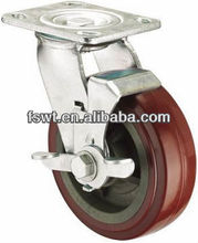 Heavy Duty Brown PVC Side Brake Ball Bearing Adjustable Caster Wheels