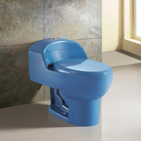Whole sale one piece S trap siphonic dual flush bule toilet color
