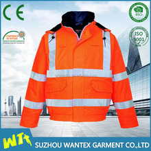 Hi vis safety work antistatic jacket polyester padding uniform reflective work clothing