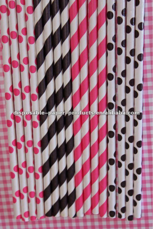 Hot Pink Black Striped Dots Paper Straws / Dots Spotted Spotty Spots Spot Polkadots Polka Dot Paper Straws in 33 Colors