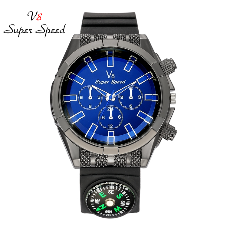2017 new <strong>hot</strong> men's outdoor sports fashion super speed V8 watch compass watch