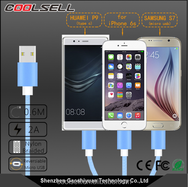 3 in 1 USB Cable with 8 Pin head, Micro USB , Type C for Andorid Phone