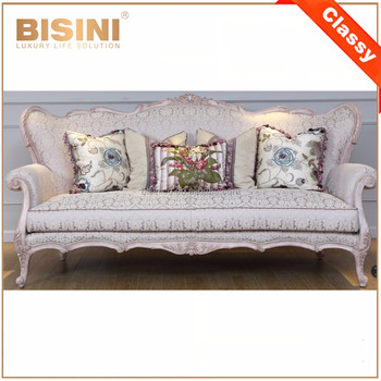 Fancy Victorian Design Elegant Purple Fabric Upholstery Sofa Set In Living Room/ Antique Royal Wooden Carving Sofa Recliner
