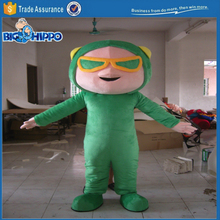 Green suit plane pilot professional detail awesome stunt man aerobatics character high quality custom mascot costume