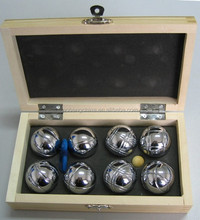 Boccia Game 8 Metal Bocce Petanque Boules Wooden Box