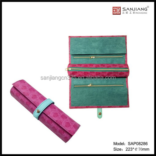 New design professional Cheap price for exotic velvet traveling jewellery roll series