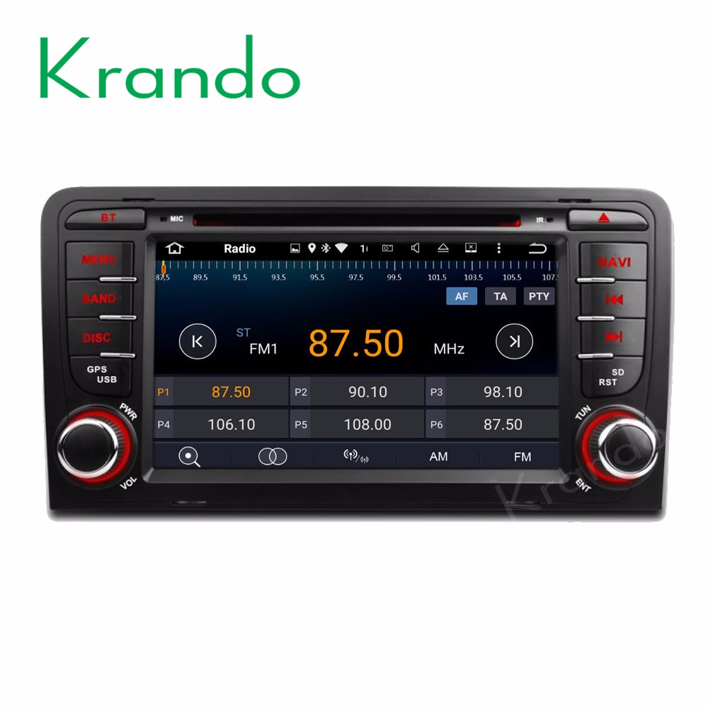 "Krando Android 7.1 7"" car stereo radio system for Audi A3 2003-2013 car dvd gps navigation DAB+ wifi 3G Bluetooth KD-AD713"