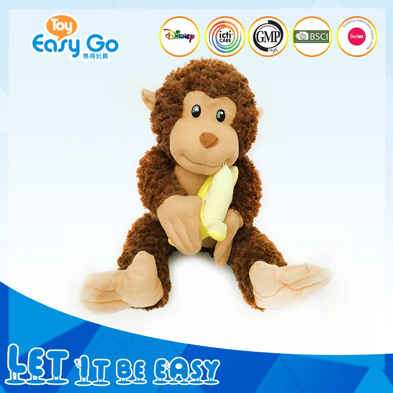Pretty Brown Big Mouth Stuffed Plush Sitting Monkey With Banana