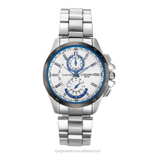 Longbo chronograph dial luxury brand watch stainless steel case relogio masculino
