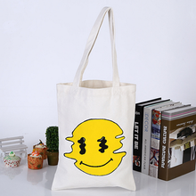 Customized Cartoon Smiling Face Print Cotton Tote Bag Eco Friendly Shopping Bag Wholesale