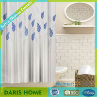 Flower And Leaf Design Custom Polyester Shower Curtain