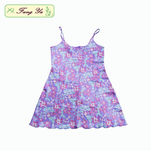 Wholesale China Factory Sex Satin Purple Petunia Printed Nightgown For Mature Women