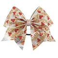 Wholesale high quality ribbon giltter hair cheer bows for girl