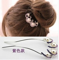 aliexpress hot designs u-shaped wedding pearl crystal hairpins