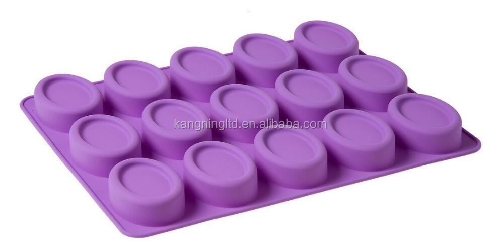 15 Cavity Oval Shaped Silicone Handmade Flexible Cake Soap Mold