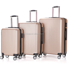 golden color 4 Wheels upright hardcase Spinner ABS trolley luggage case