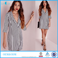 2015 Autumn career women wear vertical striped shirt dress middle sleeve shift dress for office lady