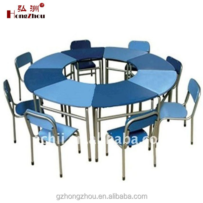 Round 8 pcs Set Kids School Furniture Old School Desks for Sale