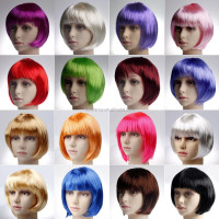 short bob wigs for black women Lady's Hair Full Wigs party cosplay halloween wig QPWG-2194
