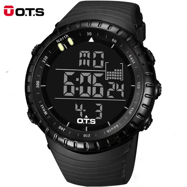 Christmas Gift Top Brand OTS Cool Black Mens Fashion LED Digital Swimming Climbing Outdoor Smart Watch Man Sports OTS Watches