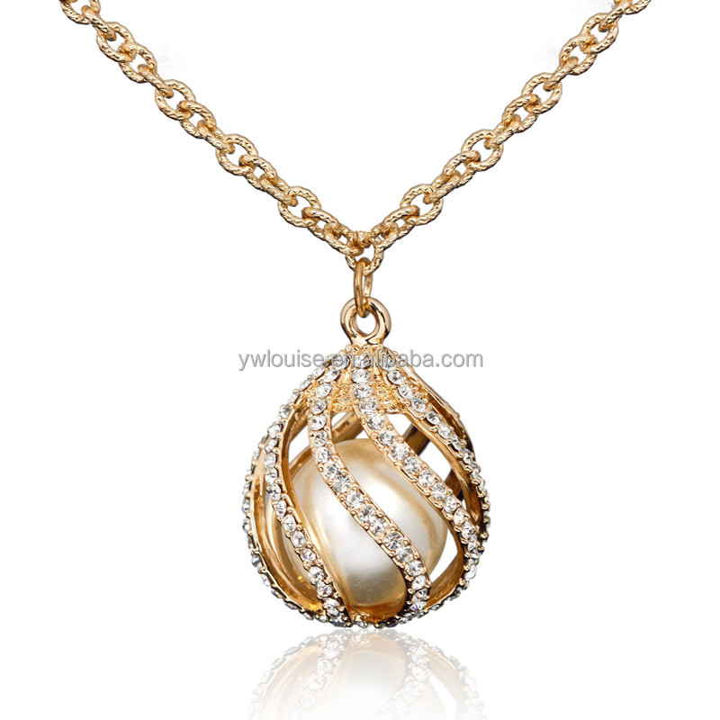HOT sale 12K Gold Plated Rhinestone Pearl Teardrop Shape Alloy Long Link Chain Pendant Necklace