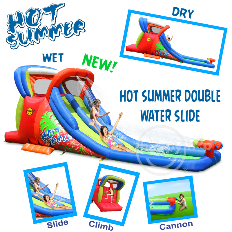 Happy Hop Inflatable Water Slide and Pool with Double Cannon-9129 airflow water slide