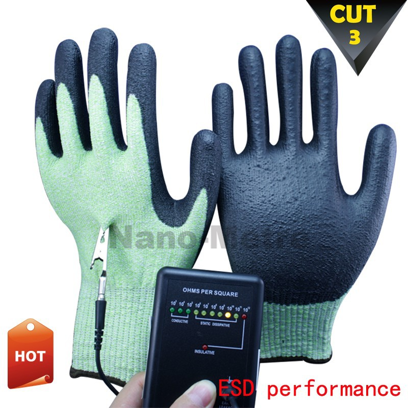 NMSAFETY anti static ESD gloves with cut resistant coated working gloves