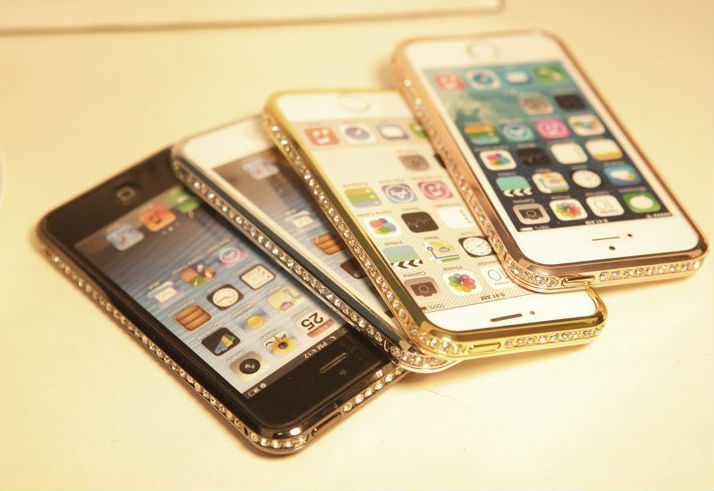 2014 Newest Blasting Flash for apple iPhone 5s 5g Luxury Crystal Diamond Metal Case Bumper Fashion Rhinestone Frame Casing