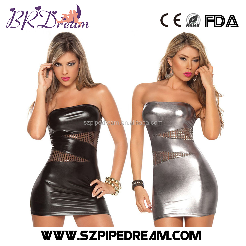 Hot stamping that wipe a bosom PU Leather Short Sexy Bondage Pack Hip Fetish Wear for Women Erotic Costumes