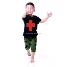 printed cotton boys outfits two-piece outfit boy with fork and pants suits kaiya new clothes