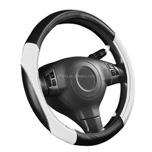 PVC leather universal fit car auto steering wheel cover off white