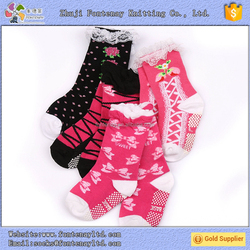 Make your own young girls fluffy heelless bow knee high tube socks