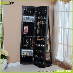 rotating jewelry cabinet with dressing mirror