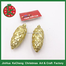 Matt pine cone Christmas hanging decorations in golden color