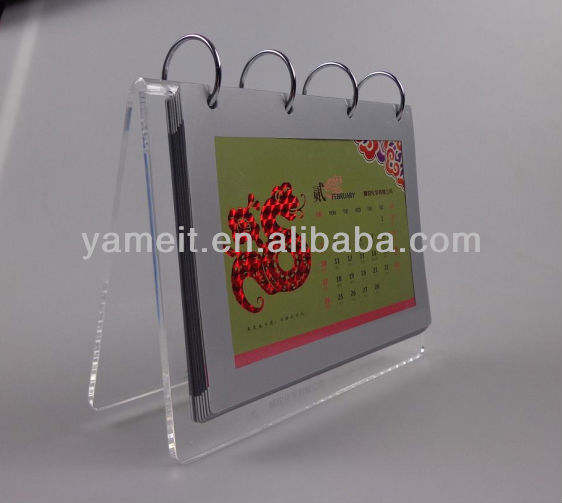 Imprinted Customized Logo Acrylic Desk Blank Calendar 2014 With Stand