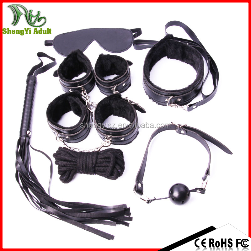 2016 Leather Sex Male BDSM Bondage, 7pcs bdsm bondage restraints sex toy